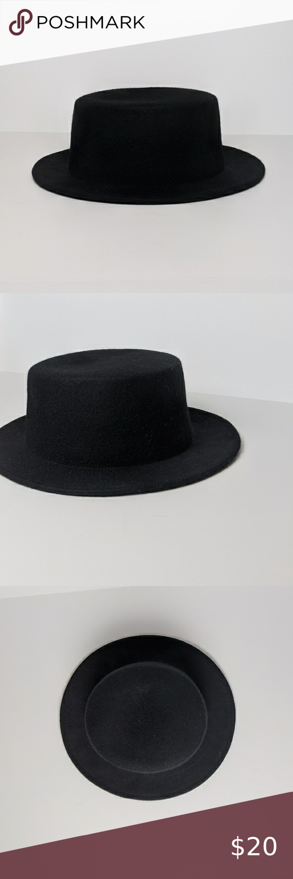 Black Wool Fadora Straight Brim Witch Hat Black Wool Brim Brim Hat