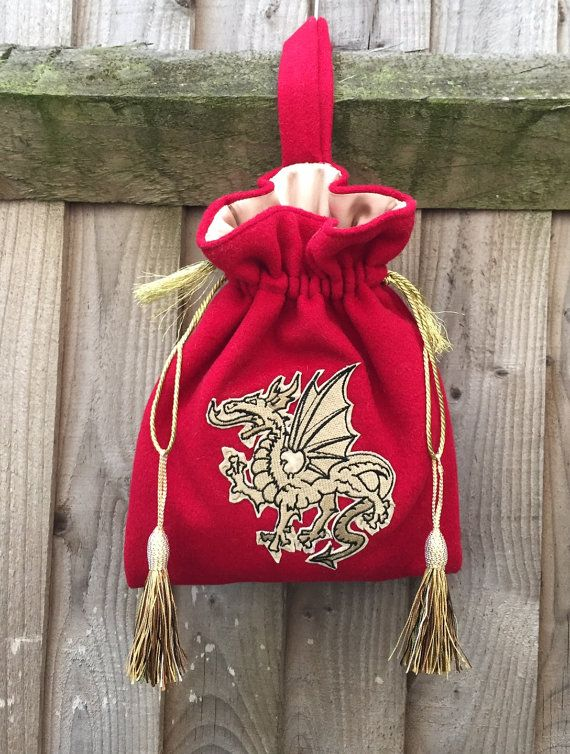 a09203f7595 Medieval Anglo-Saxon Style Elegant Hand Bag Purse Pouch Handmade Red Wool    Gold Satin lining