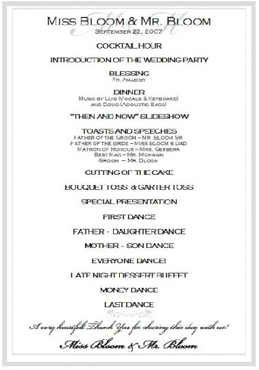 Sample Wedding Reception Program Ceremony Pinterest Wedding