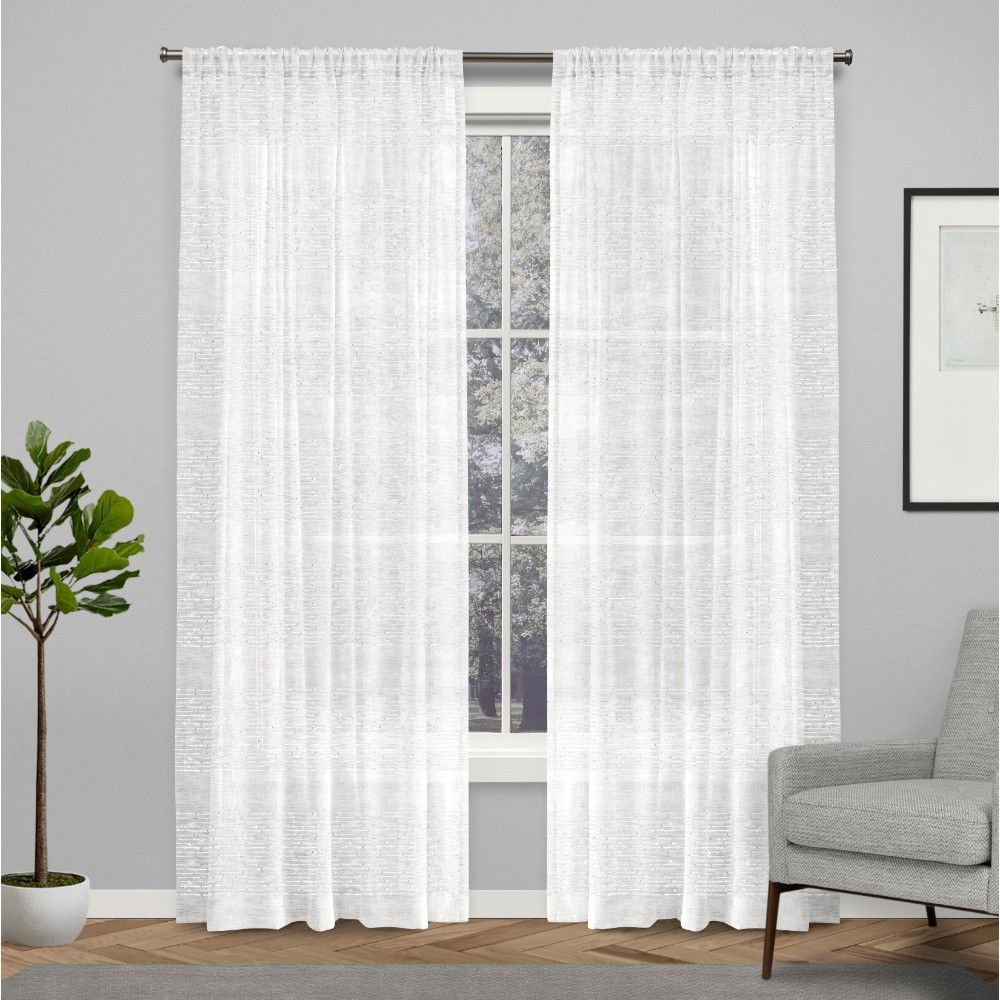 3 panel kitchen window  curtain panels exclusive home white stripe in   products