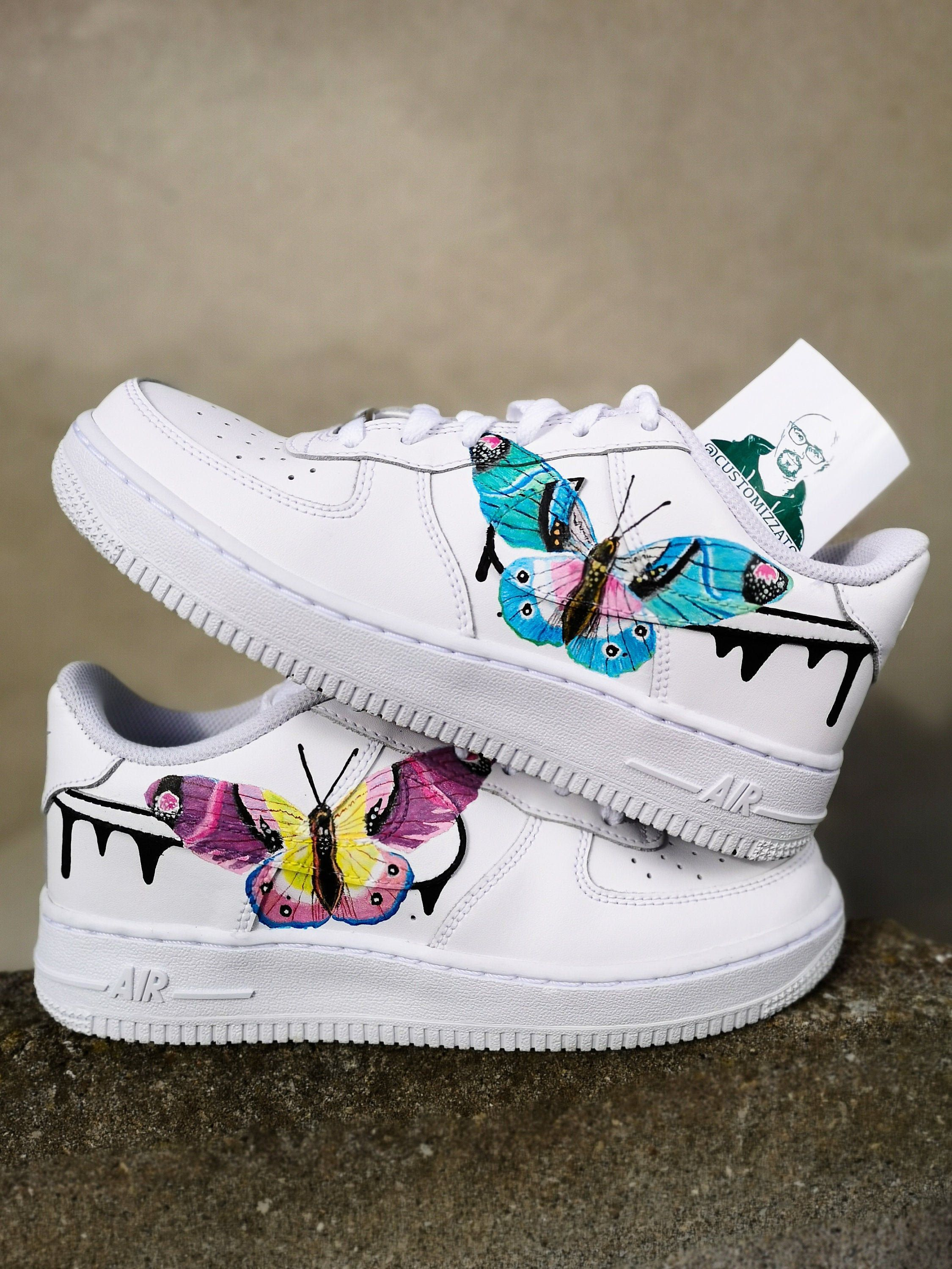 Personalizadas Nike Air Force 1 Mariposas Custom Sneakers Nike Air Force One Shoes Custom Nike Shoes