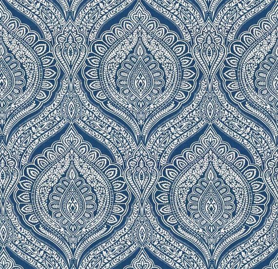 Blue Damask Upholstery Fabric - Custom Blue White Paisley Curtains ...