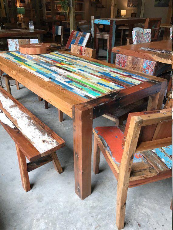 Reclaimed Dining Table Bali Boat Wood Custom Tabletop