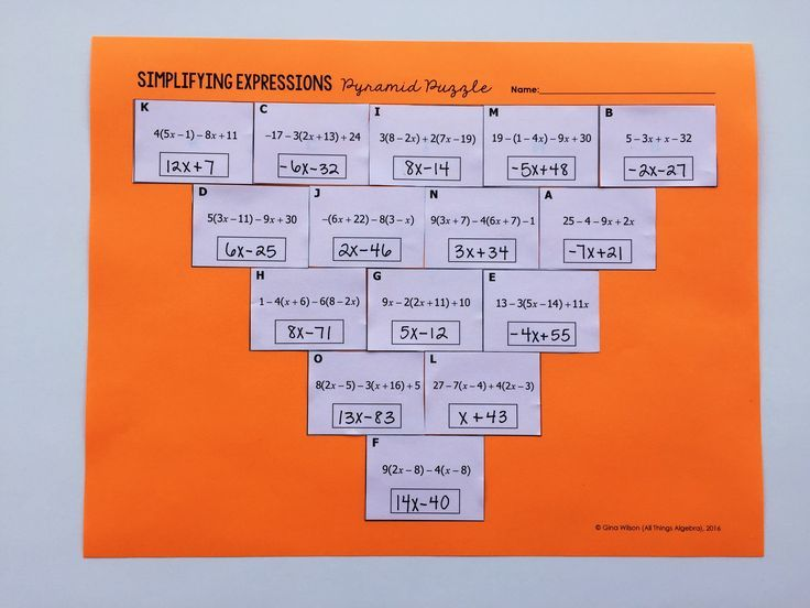 Simplifying Expressions Pyramid Puzzle Common Core Math Resources