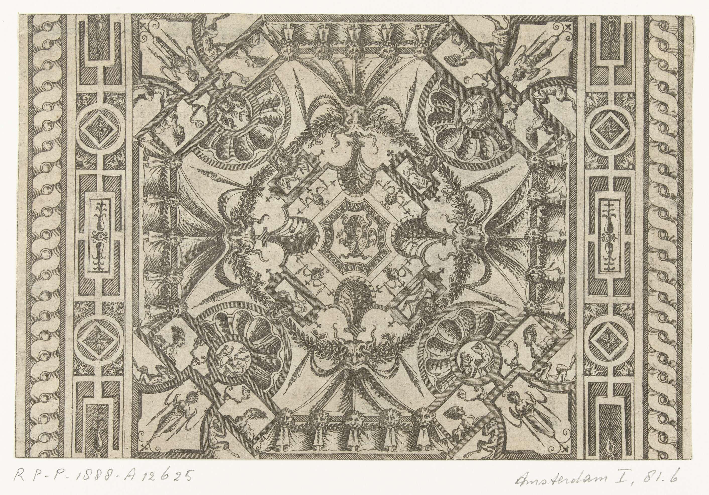 Pieter van der Heyden | Plafond, met in het midden een Medusahoofd, Pieter van der Heyden, Jacob Floris, Hieronymus Cock, 1566 | Het Medusahoofd is omgeven door grotesken die op vier punten rusten op schelpmotieven. Deze schelpmotieven worden, via vier mascarons, onderling verbonden door een krans van bladeren. Blad uit serie bestaande uit een titelblad en 15 van de 16 bladen met cartouches met bijbelse en mythologische voorstellingen in een omlijsting van rolwerk en grotesken.