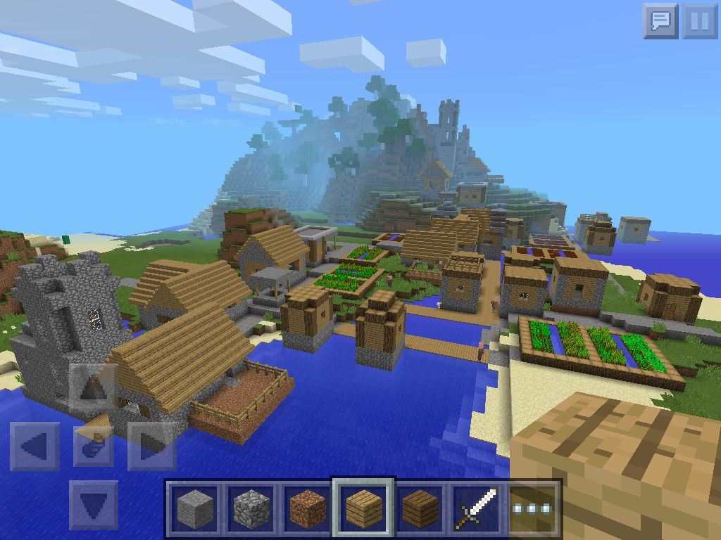 MineCraft PE village Seed 27570 YOU SPAWN RIGHT IN FRONT OF IT