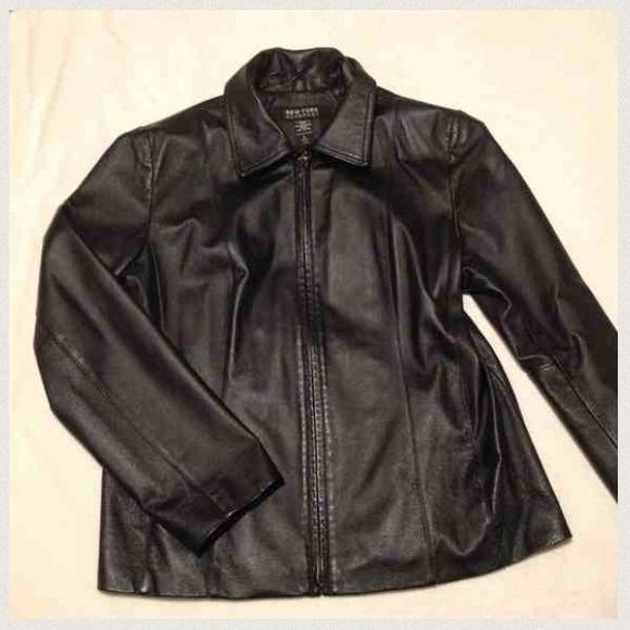 Black Genuine Leather Jacket w zipper | Leather jacket