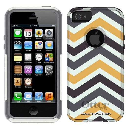334f7bf45b1 Amazon.com  Otterbox Commuter Series Chevron Black Grey and Gold Pattern  Hybrid Case for iPhone 5   5s  Cell Phones   Accessories
