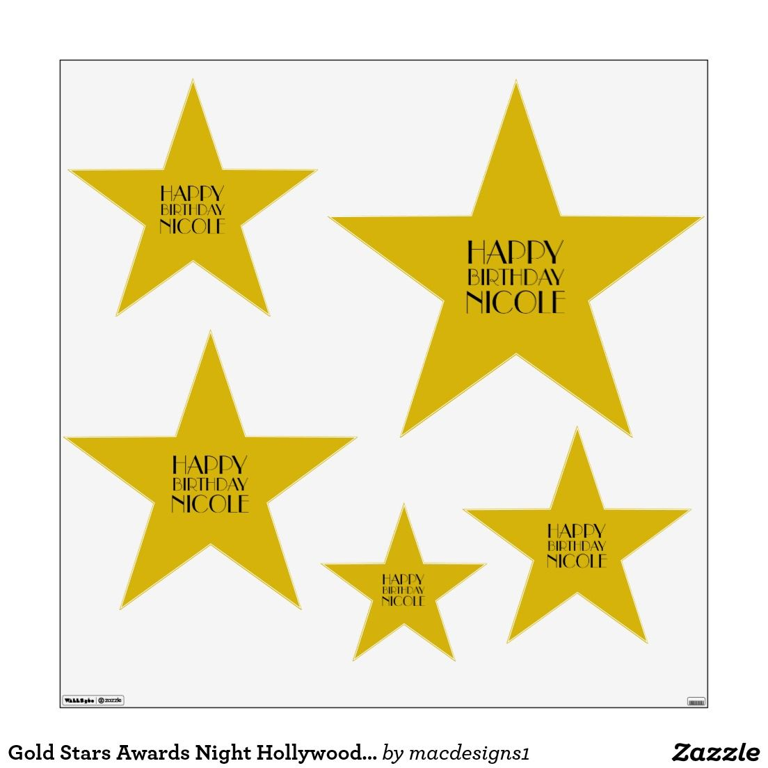Gold Stars Awards Night Hollywood Birthday Wall Graphic | Red Carpet ...