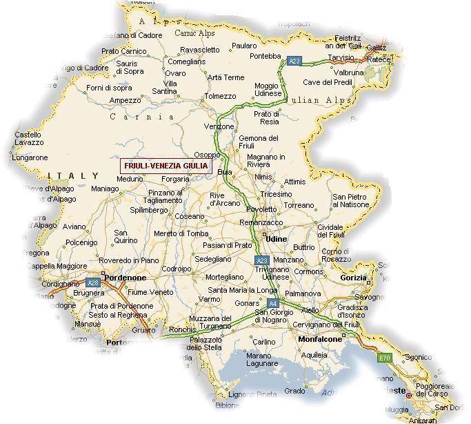 Cartina Del Veneto E Friuli.Regione Friuli Venezia Giulia Informazioni Turismo Turismo Venezia Mappa Dell Italia