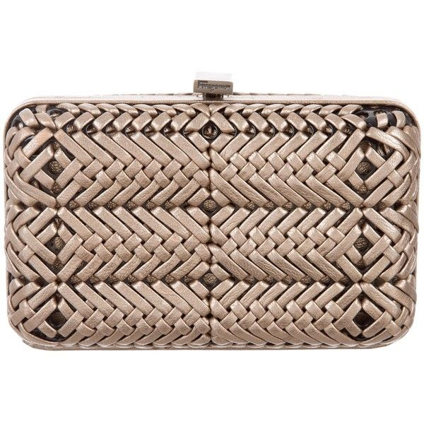 59a4d8a9b4 Pre-owned Salvatore Ferragamo Woven Leather Box Clutch ( 295) ❤ liked on  Polyvore featuring bags