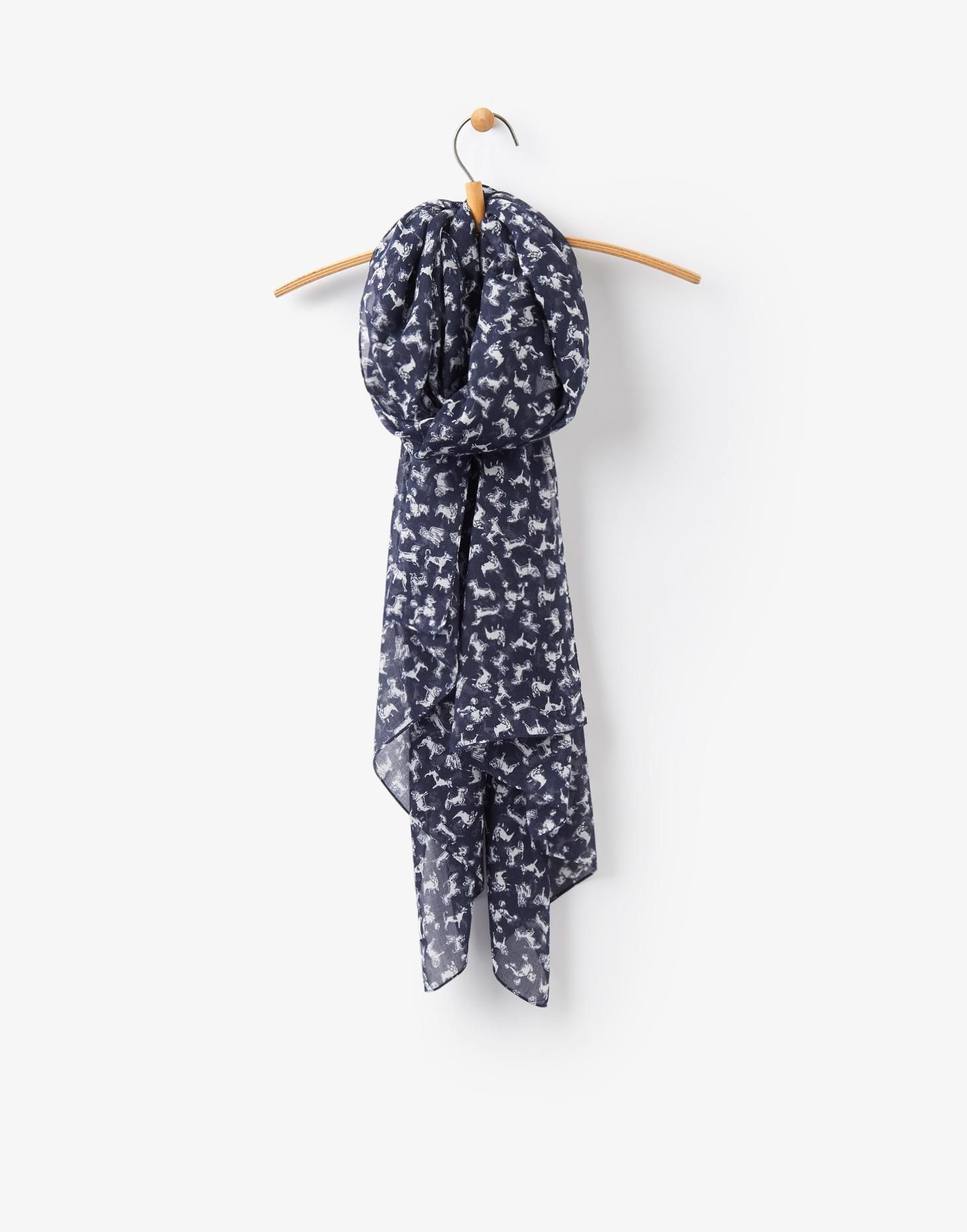 Joules Womens Wensley Scarf Navy Dogs
