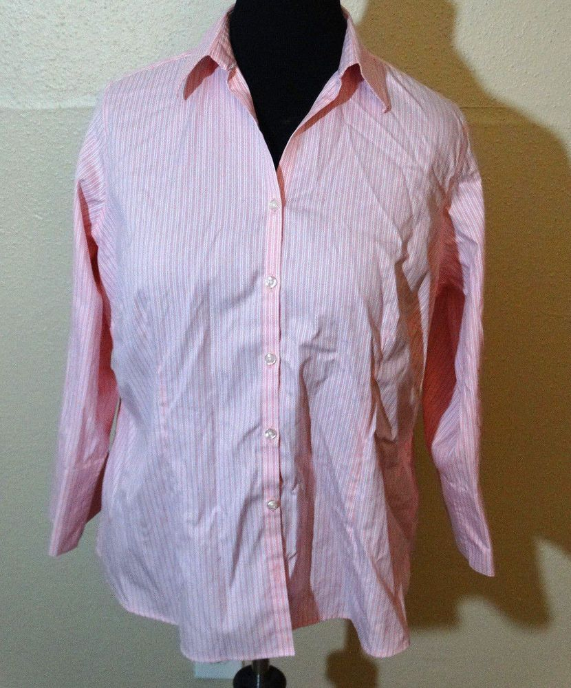 Land S End Long Sleeve Pink Blouse Size 16w Landsend