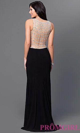 153bd02554eb Black Sleeveless Illusion Sweetheart Sean Prom Dress SN-50881 at PromGirl .com