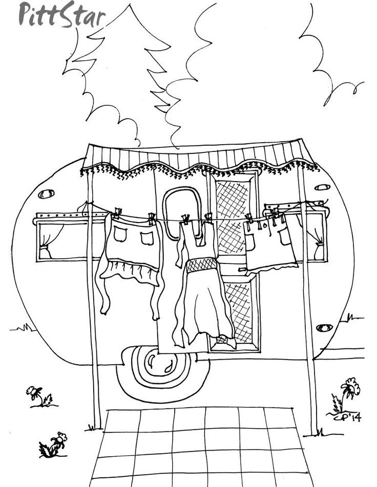Instant download whimsical travel trailer haning out the for Laundry coloring pages