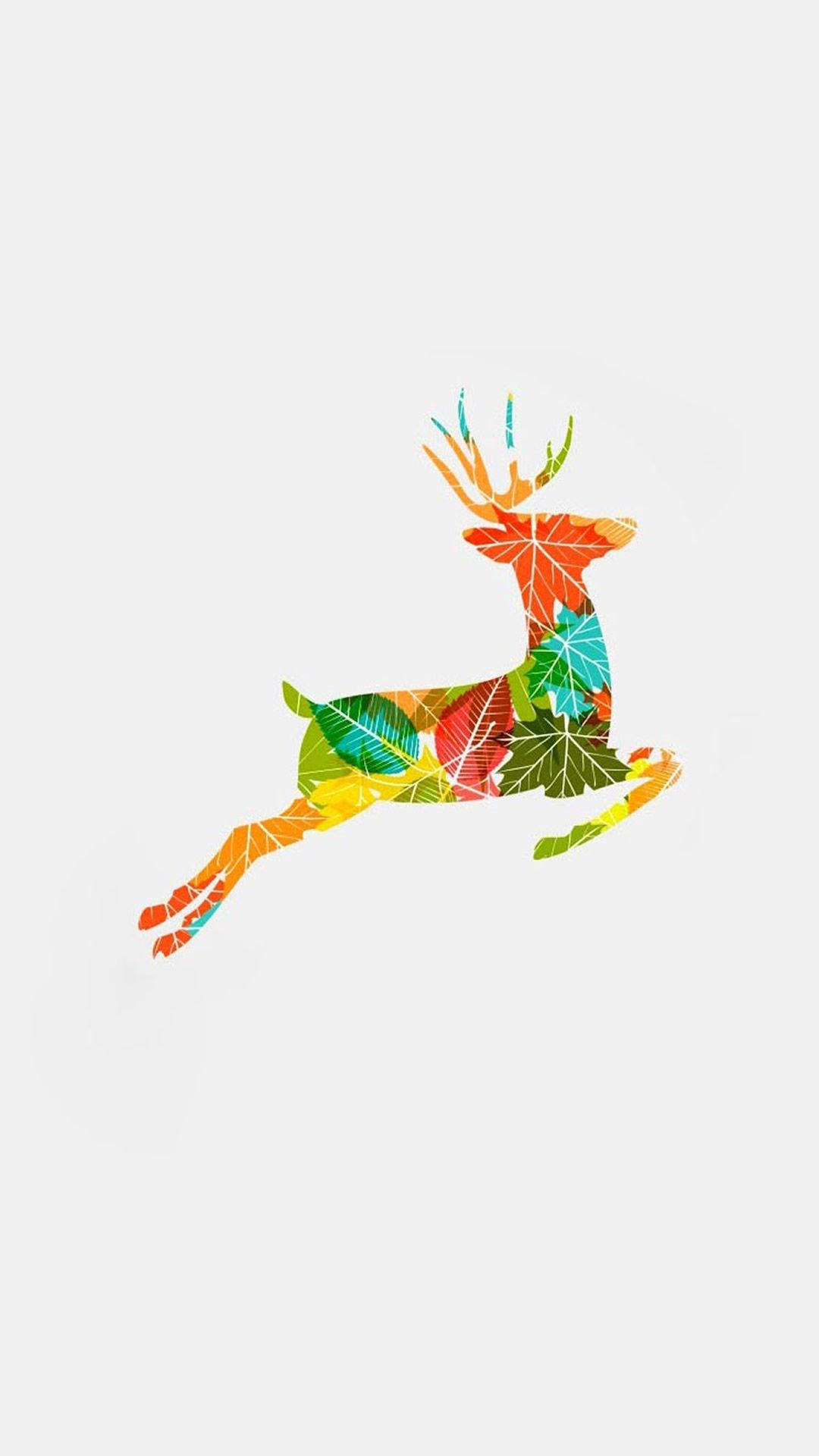 Colorful Reindeer Jump Illustration #iPhone #6 #plus #wallpaper | iPhone 6~8 Wallpapers