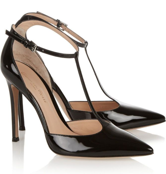 Heel Measures Roximately 4 Inches Black Patent Leather Buckle Fastening Ankle Strap