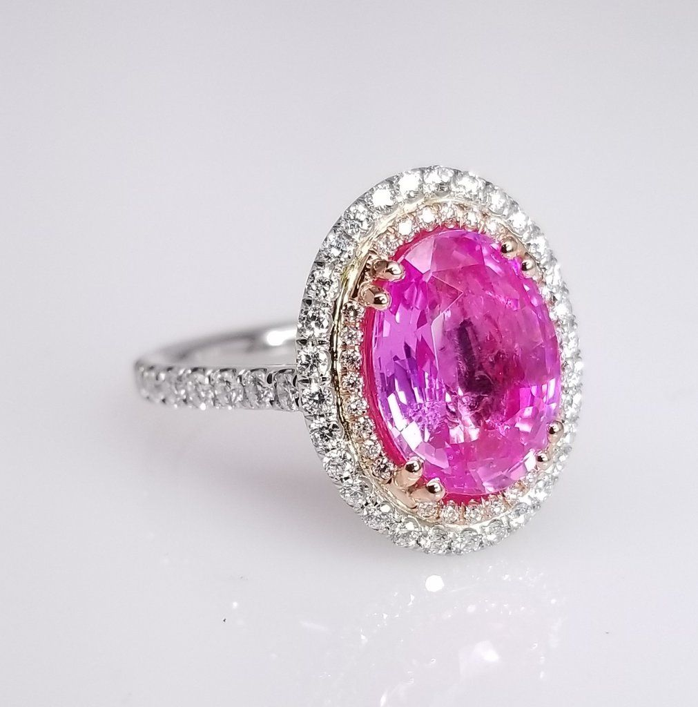 Oval Cut Pink Sapphire Double Halo Diamond Ring Made in Platinum ...
