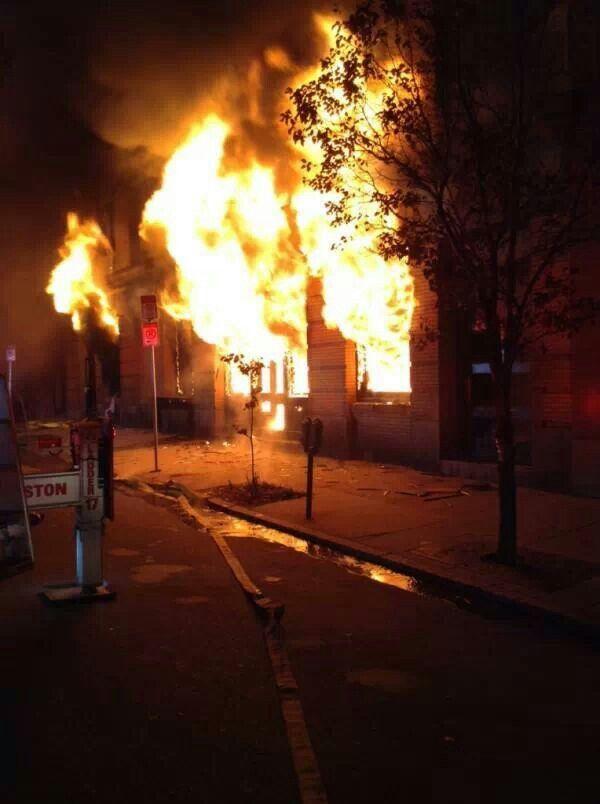 Extra alarm fire in Boston.
