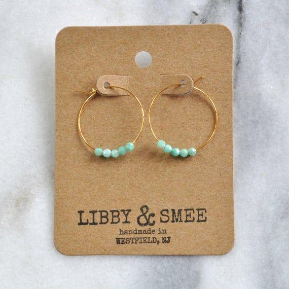 Photo of Small Amazonite Beaded Hoop Earrings, Tiny Hoop Earrings, Amazonite Earrings, Gemstone Hoops, Aqua T