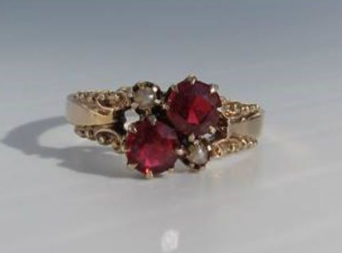 Antique Estate Victorian Red Stone Ruby & Seed Pearl Yellow Gold Cocktail Ring in Jewelry & Watches, Vintage & Antique Jewelry, Fine, Victorian, Edwardian 1837-1910, Rings   eBay