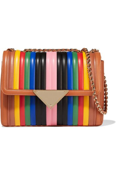Multicolored leather (Calf) Snap-fastening front flap Weighs approximately 2.4lbs/ 1.1kg Made in Italy