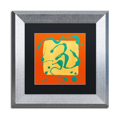 "Trademark Art ""Yellow Square on Orange"" by Amy Vangsgard Framed Painting Print Matte Color: Black, Size: 16"" H x 16"" W x 0.5"" D"