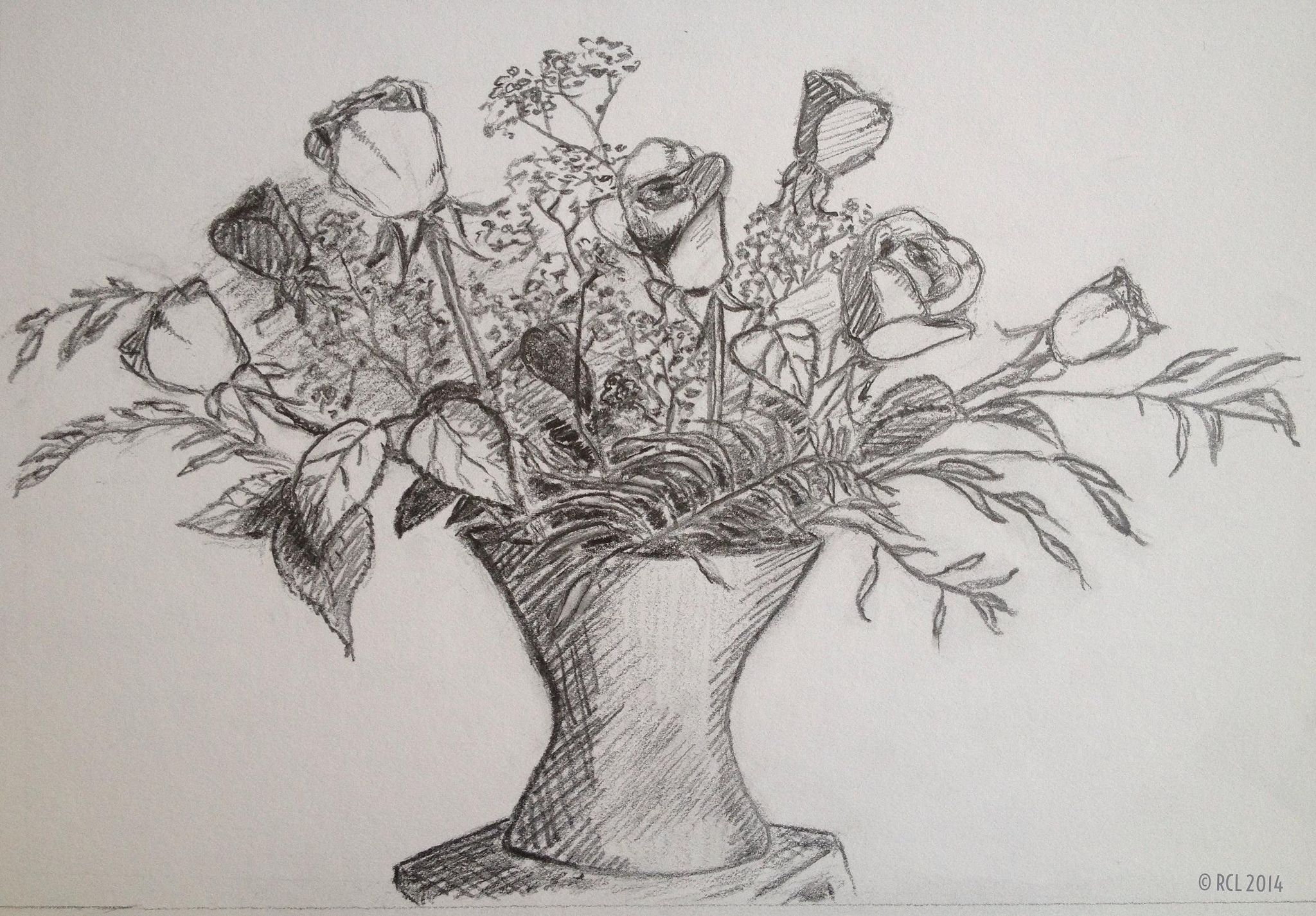 A Vase of Flowers Flower drawing