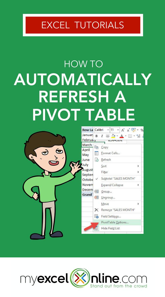 Automatically Refresh A Pivot Table Myexcelonline Pivot Table Microsoft Excel Tutorial Excel Tutorials