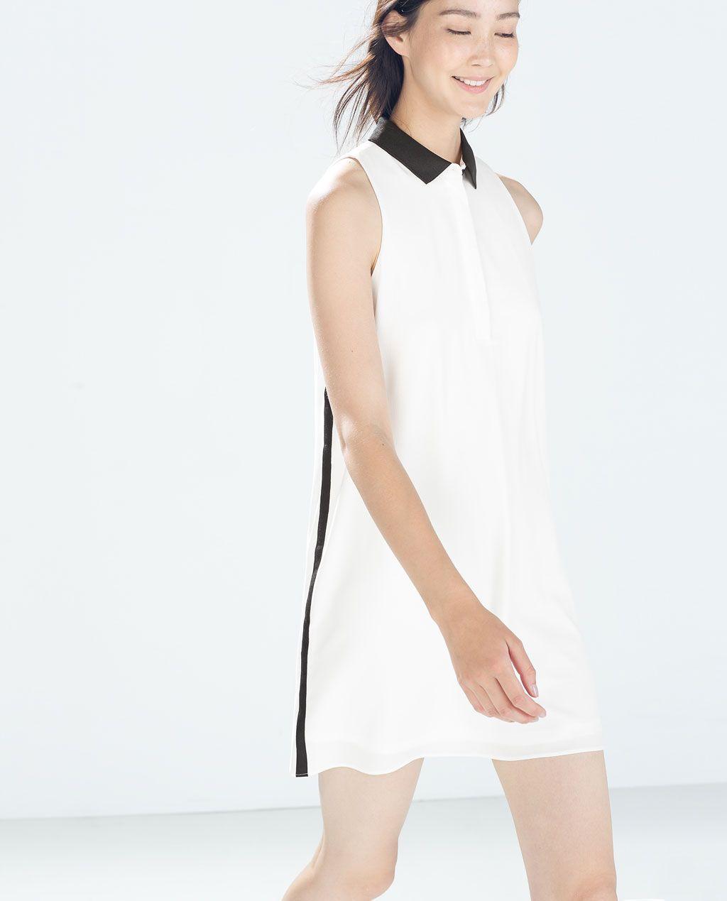 Vestido negro con cuello blanco de zara