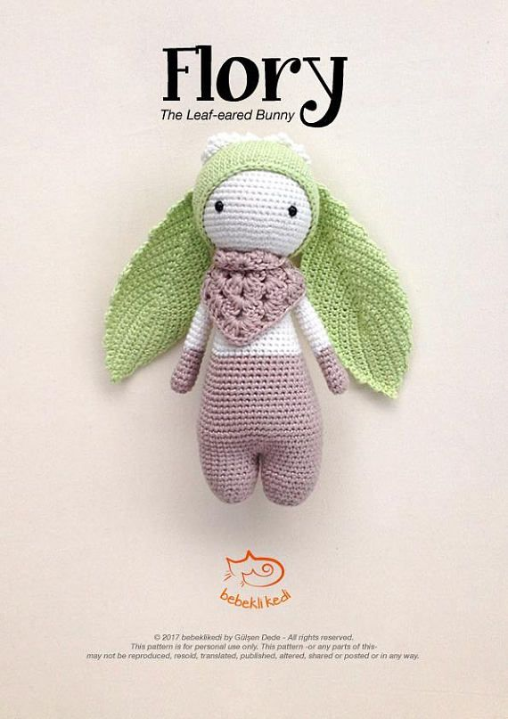 PATTERN!! FLORY the Leaf-eared Bunny /crochet pattern/ amigurumi ...