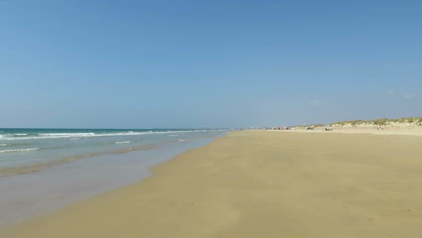 landscape of Conil Palmar Beach seaside with golden sand, blue green turquoise ocean water, waves and horizon blue clean sky in Cadiz Spain  - HD stock video clip
