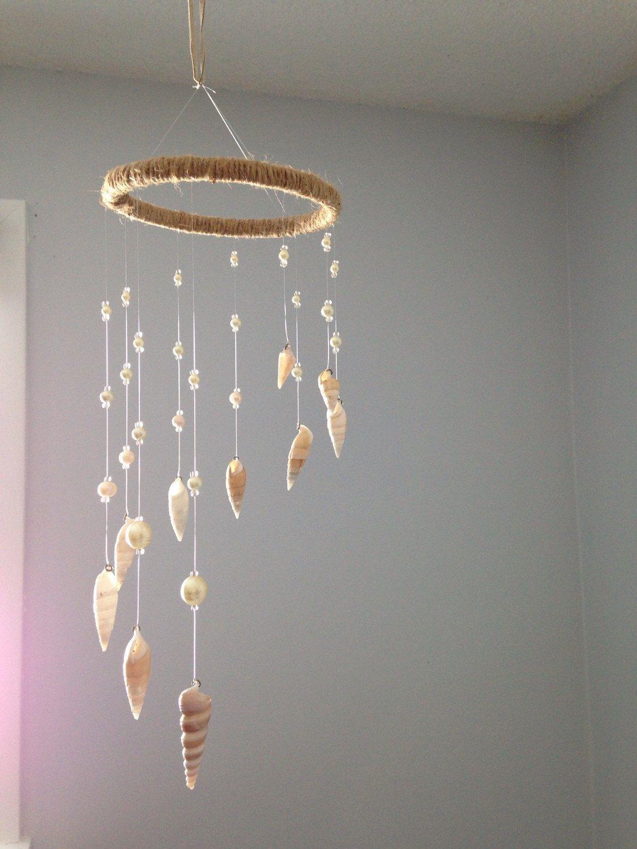 Wind Chimes-Sea Shell Mobile-Beach Wedding Decor-Sun Catcher-Nautical Style-White Sea Shells