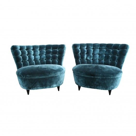 Pair of Blue Slipper Chairs by James Mont. c. 1940s | Todd Merrill