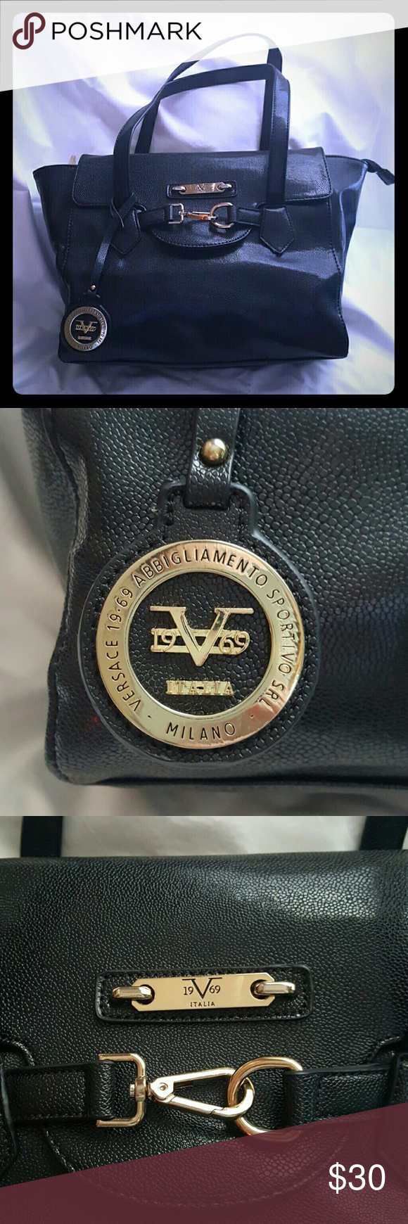 Black Versace KNOCK Off Black Versace, i dont think its real bc the date is 1969 and Versace started in 73 so im not trying to fool anyone. Good bag just not my style, plastic still on zipperss, zips shut and top fastens over with pockets inside and out. Versace (FAKE)  Bags