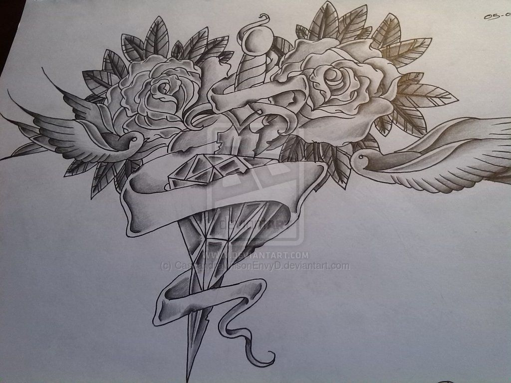 Traditional Flower Line Drawing : Diamond traditional tattoo tattoos pinterest rose