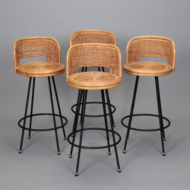 Set Of 4 Swivel Bar Stools Dated 1966 Have Black Metal Four Leg Base Woven Wicker And Rattan Seats And Are At Bar Height In The Style O Barkruk Rotan Hoeden