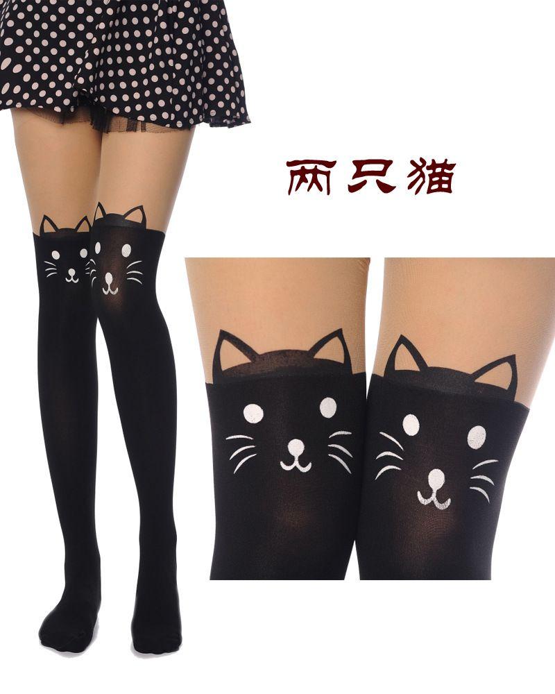 f3471d10a women cute kitten Knee High tattoo stockings Pantyhose Tights leggin ,plus  size US $2.99