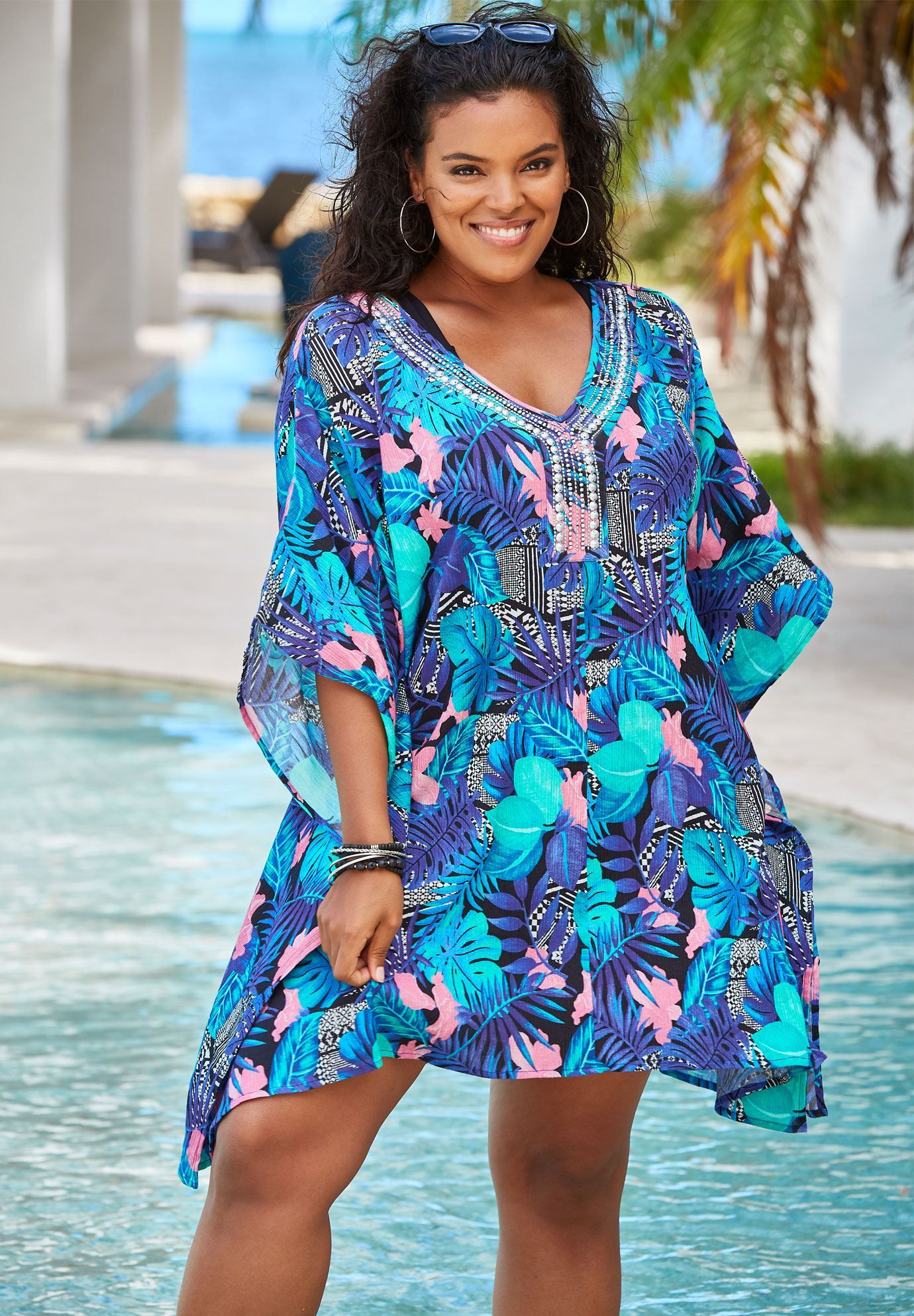 Jeweled Coverup, BLUE TROPICAL FLORAL Cover up, Plus