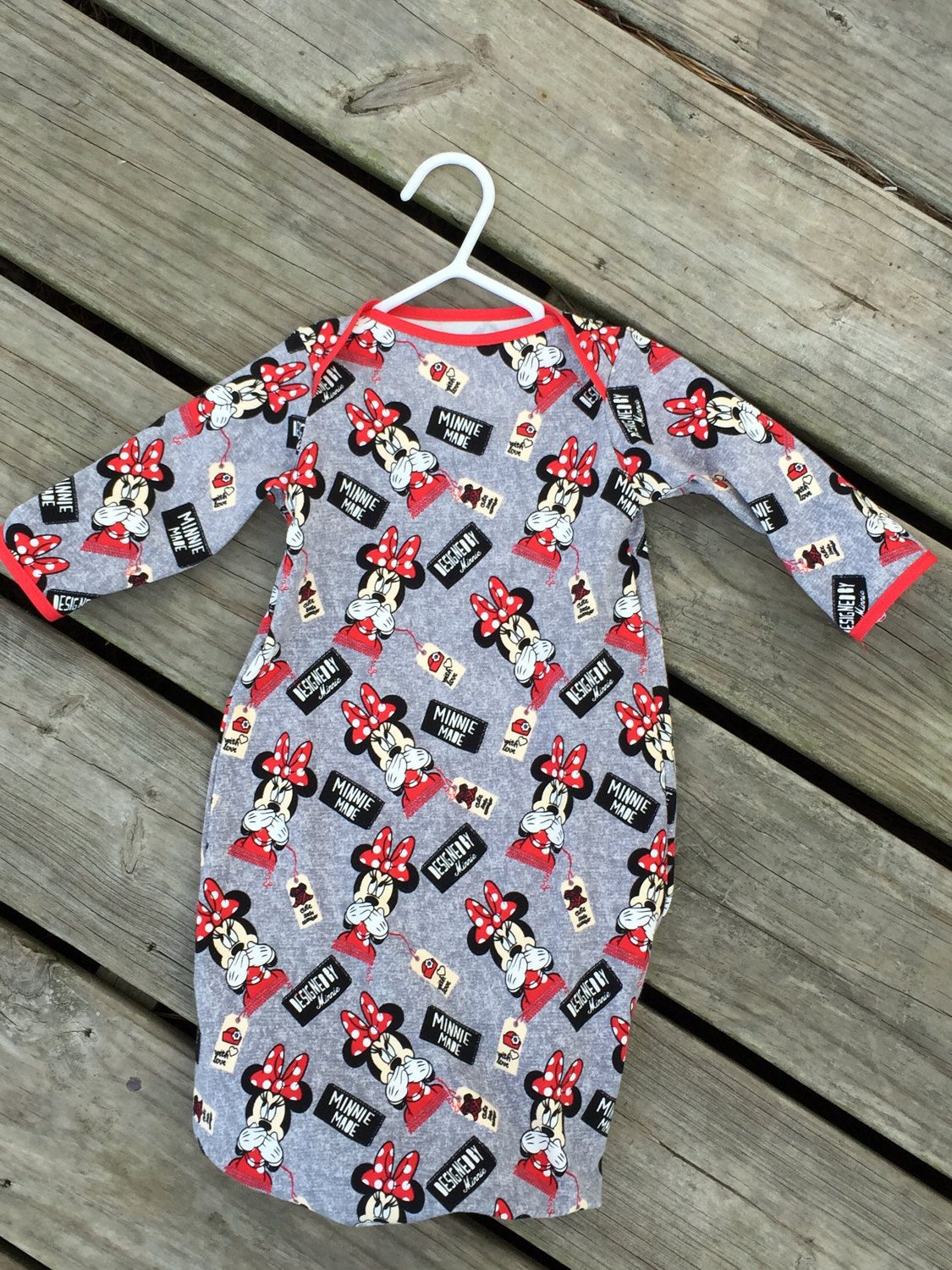 Minnie Mouse gown, infant gown, baby gown, layette, infant dress ...