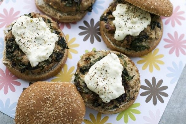 Greek-style turkey burgers with pepperoncini sauce