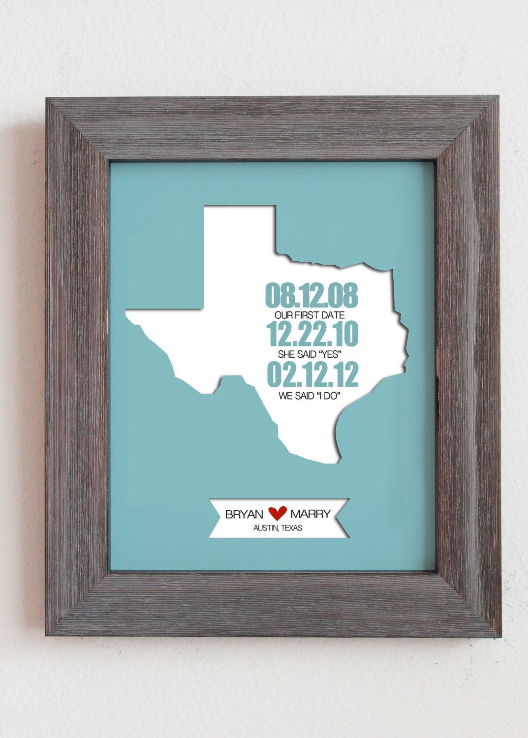 """Personalized Paper Cut Out of Texas Map 8""""x10"""" with Printed Dates for Anniversary Gift and Wedding Gift. $27.00, via Etsy."""
