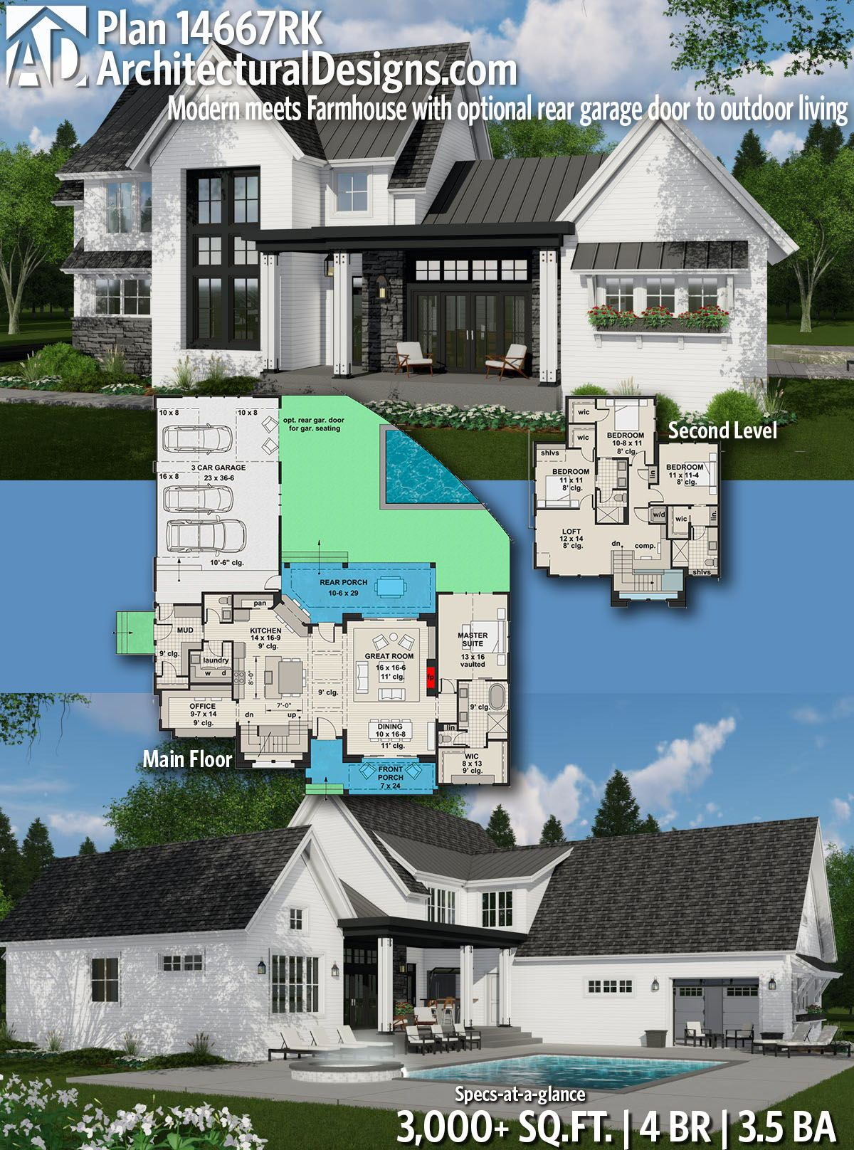 Plan 14667rk Modern Meets Farmhouse With Optional Rear Garage Door To Outdoor Living Modern Farmhouse Plans Modern House Plans Farmhouse Plans
