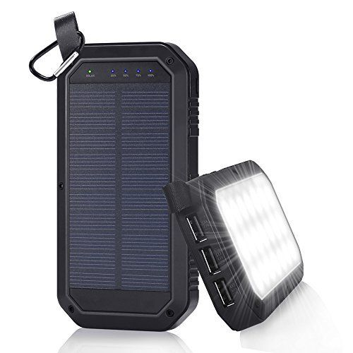 Solar Charger 8000mAh, BESWILL 3 USB Ports and 21 LED light
