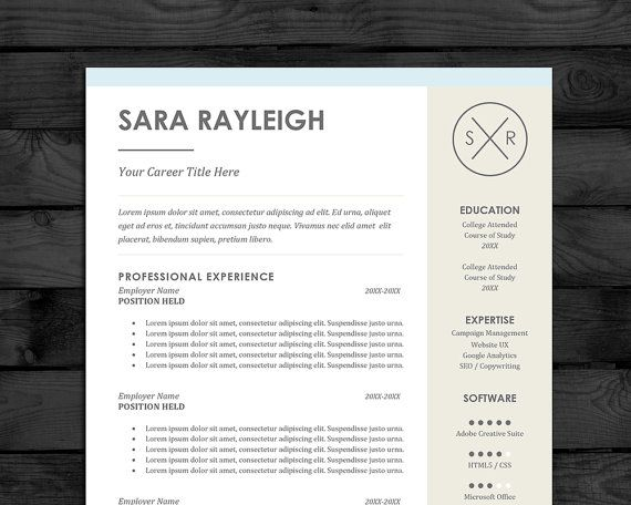 Resume Template / CV Template, PC  Mac, Free Cover Letter, US