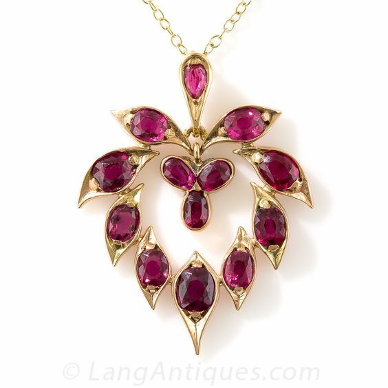 Antique ruby pendant necklace over 4 carats of radiant violet antique ruby pendant necklace over 4 carats of radiant violet red natural no mozeypictures Image collections