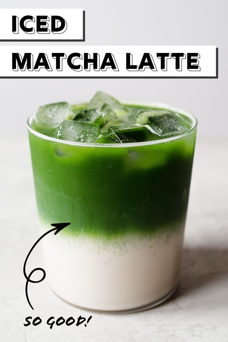 This refreshing layered green tea latte is surprisingly