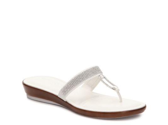 Women's Italian Shoemakers Rhinestone Wedge Sandal - White