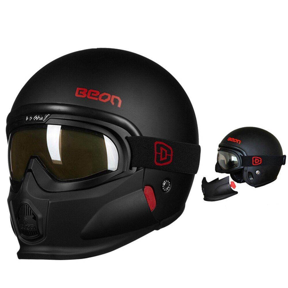 Beon New Motorcycle Helmet Vintage Detachable Cafe Racer Chopper Retro Crash Helmet Motorbike Helmet Motorcycle Helmets Vintage Cafe Racer Helmet