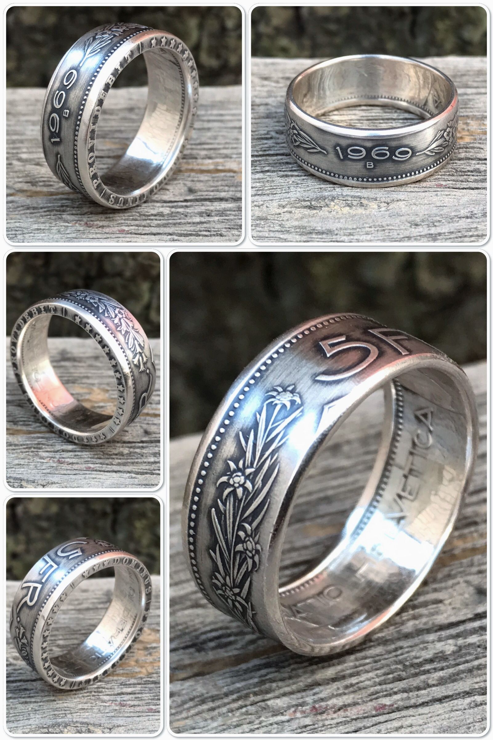 Swiss Silver Coin Ring Switzerland 5 Francs Helvetia